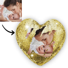 Mother's Day Gifts - Custom Photo Magic Heart Sequin Pillow