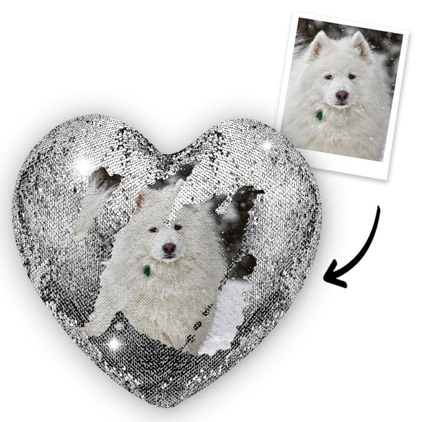 Custom Photo Magic Heart Sequins Pillow - Pet