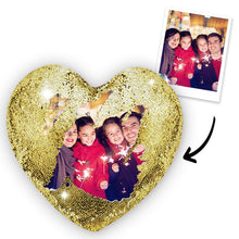 Custom Sweet Love Photo Magic Heart Sequins Pillow