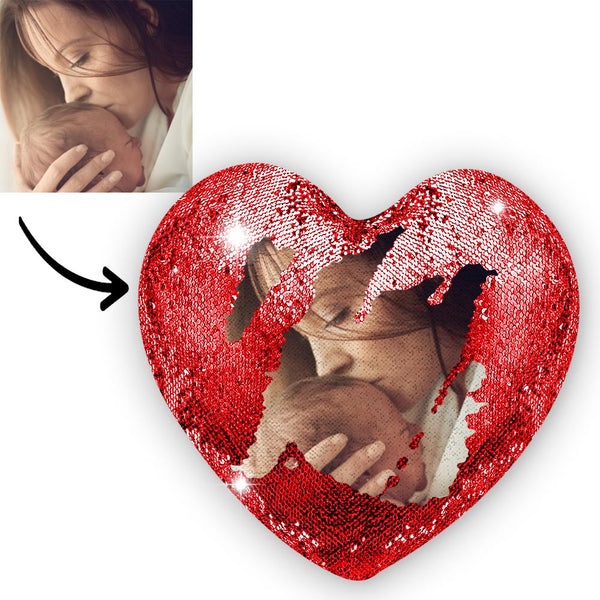 Custom Photo Magic Heart Sequins Pillow for Mom