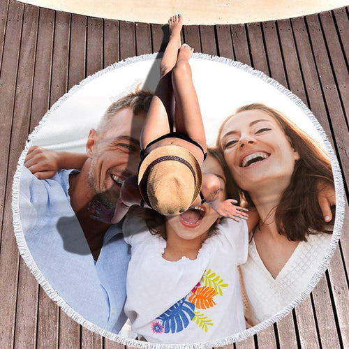 Custom Photo Beach Blanket Tassel Beach Mat Round