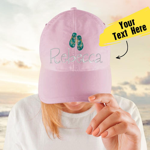 Custom Text Cap for Girl Travel Cap Comfortable Pink