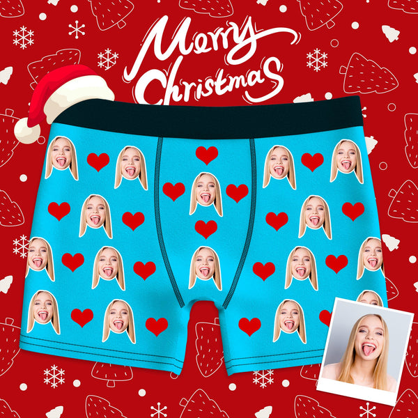 Christmas Gift Custom Heart Boxer Shorts