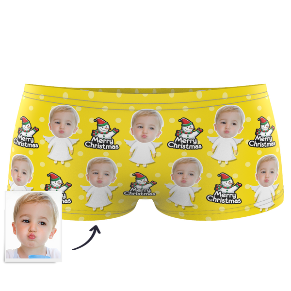 Christmas Angel Kids Custom Face Boxer Briefs