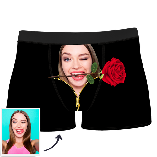 Valentine's Day gift-Custom Love Rose Boxer Shorts