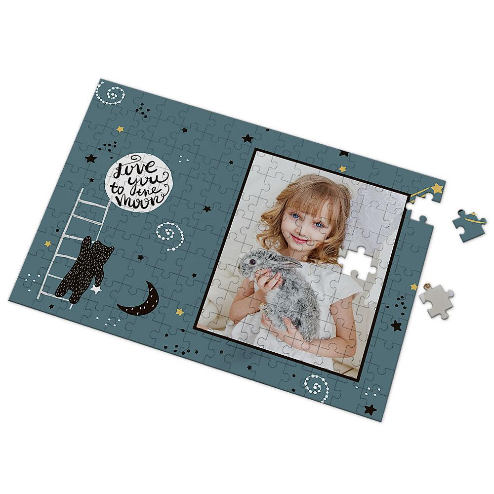 Custom Love You to The Moon Photo Puzzle 35-500 Pieces
