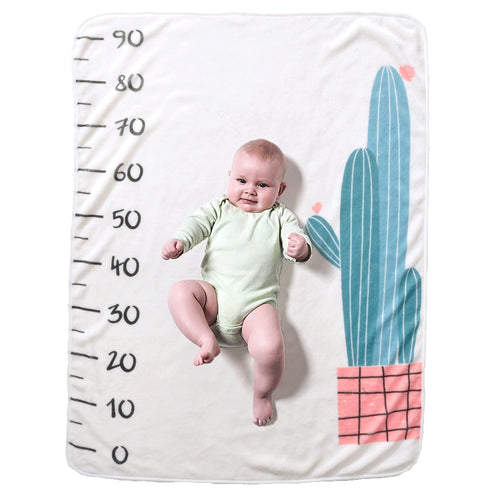 Milestone Blanket - Record Baby Growth Cactus Fleece Blanket