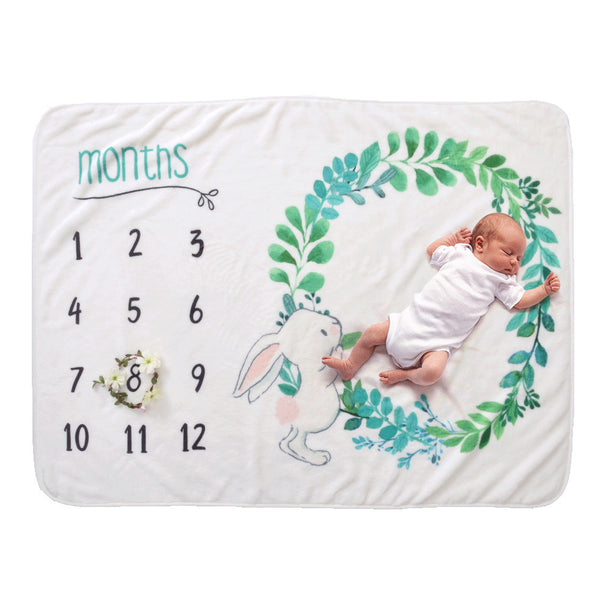 Milestone Blanket - Record Baby Growth Cute Rabbit Fleece Blanket