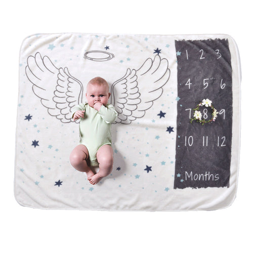 Milestone Blanket - Record Baby Growth Little Angel Fleece Blanket