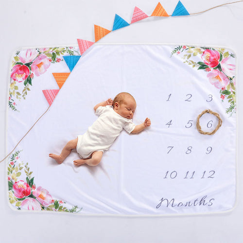 Milestone Blanket - Record Baby Growth Simple Flower Fleece Blanket