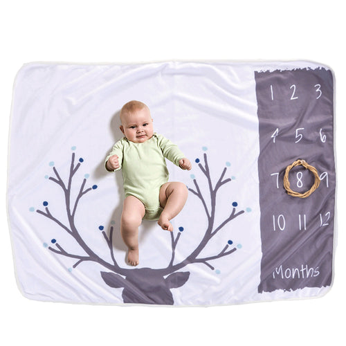 Milestone Blanket - Record Baby Growth Antlers Fleece Blanket