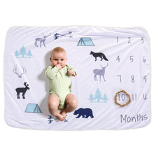 Milestone Blanket - Record Baby Growth Animals Fleece Blanket