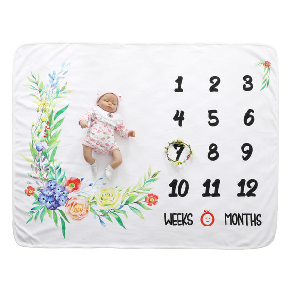 Milestone Blanket - Record Baby Growth Beautiful Flower Fleece Blanket