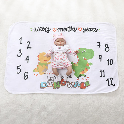 Milestone Blanket - Record Baby Growth Little Dinosaur Fleece Blanket
