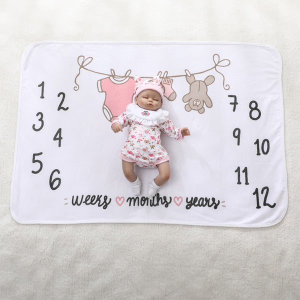 Milestone Blanket - Record Baby Growth Cute Clothes Fleece Blanket