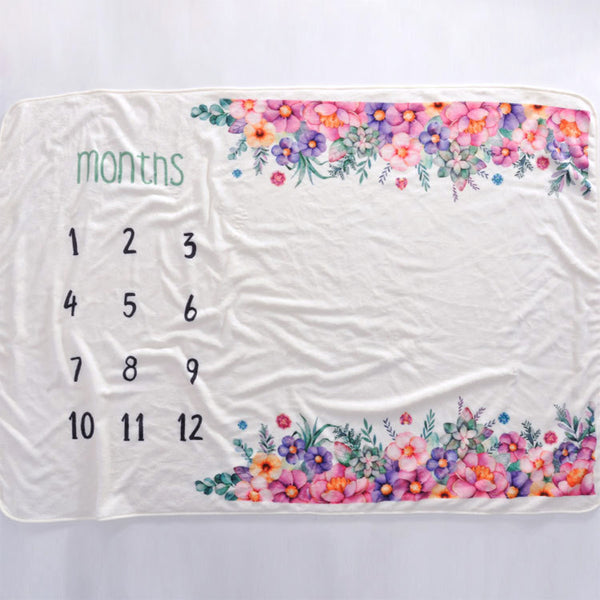 Milestone Blanket - Record Baby Growth Flower Sea Fleece Blanket