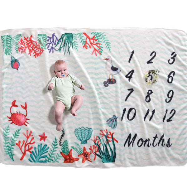 Milestone Blanket - Record Baby Growth Underwater Fleece Blanket