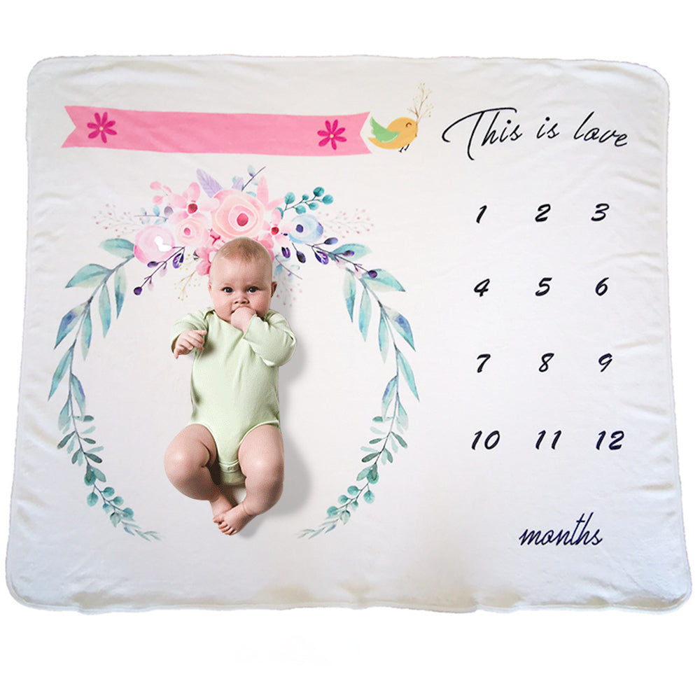 Milestone Blanket - Record Baby Growth Flying Bird Fleece Blanket