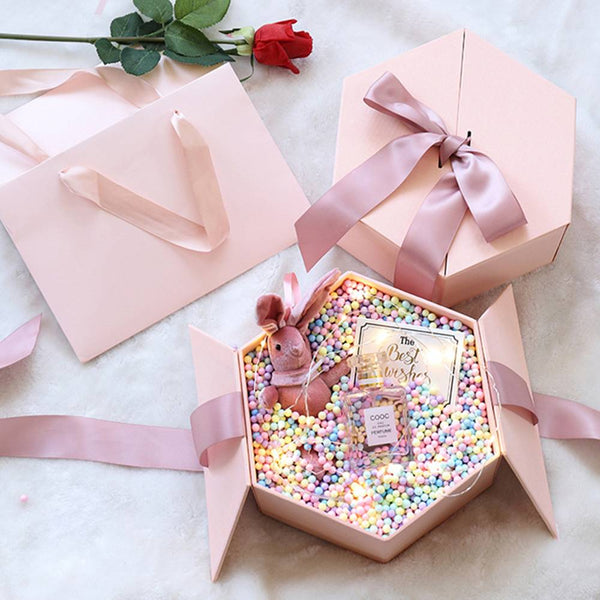 Colorful Bubble Hexagon Surprising Box Pink
