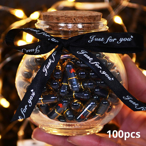 100pcs Black Lovely Mini Pill Shaped Message Capsule Letter In A Bottole With Box