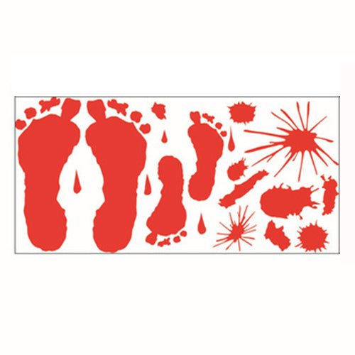 Halloween Decorations Bloody footprint Stickers Window Wall  Horror Stickers Bloody for Halloween Party Supplies Stickers Decor