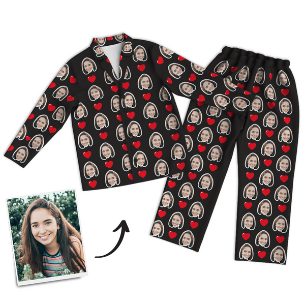 Custom Photo Long Sleeve Pajamas, Sleepwear, Nightwear - Heart