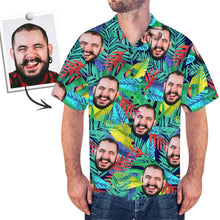 Custom Face Shirt Men's Hawaiian Shirt Multicolor Leaves