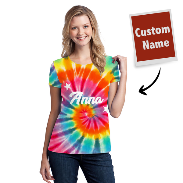 Tie-dye T-shirt Custom T-shirt Rainbow Color - Women's