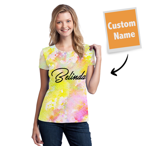 Tie-dye T-shirt Name T-shirt Fashion Style- Women's