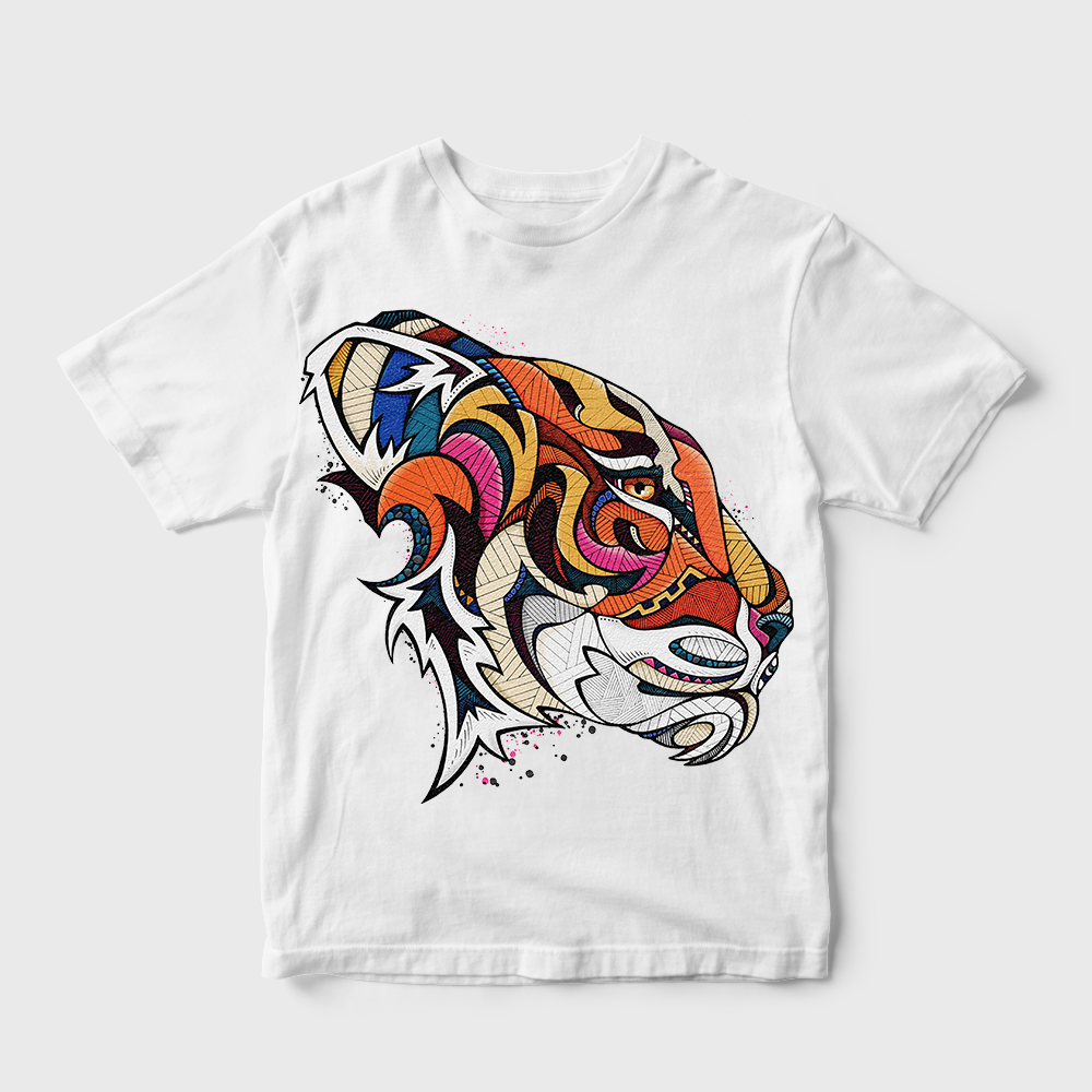 Gradient Tiger Face T-shirt White