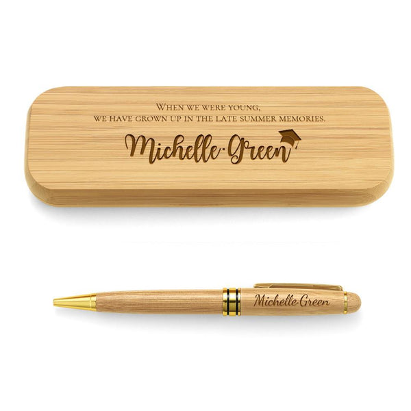 Custom Graduation Gifts Engraved Wood Pen Set of Two