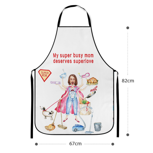 Mother's Day Gift - Custom Face Apron add Pictures and Super Busy Mom Happy Mother's Day