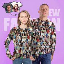 Custom Face Unisex Sweatshirt Casual Printed Photo Crewneck Shirt For Men Women - Crowd