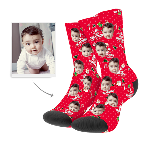 Christmas Custom Grandson Socks