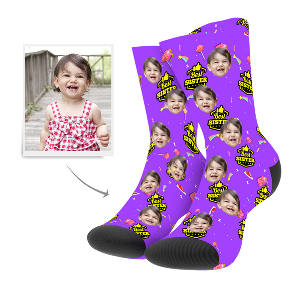 Custom Best Sister Photo Socks