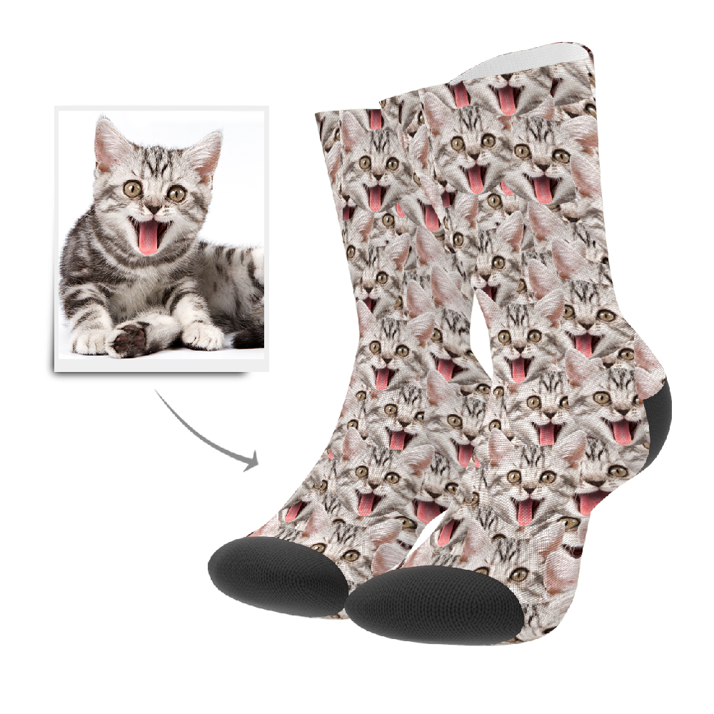 Custom Face Mash Cat Socks