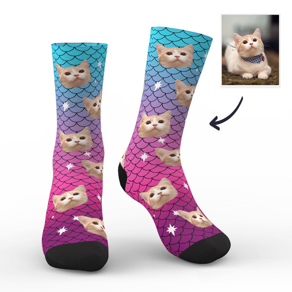 Custom Cute Mermaid Photo Socks