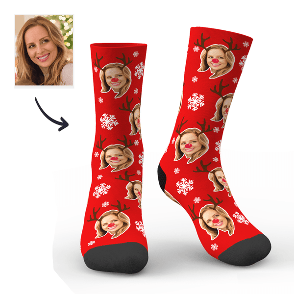 Christmas Custom Cute Antler Socks