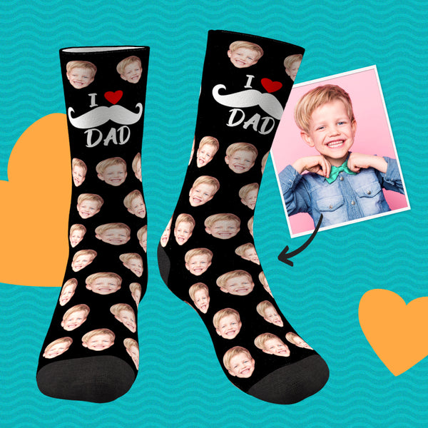 I Love Dad Custom Face Socks Father's Day Gifts