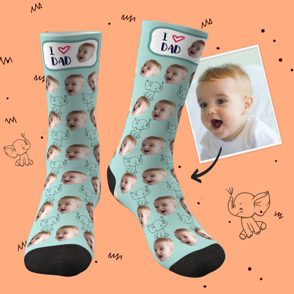 Custom Face Socks Elephant I Love Dad Best Gifts For Dad