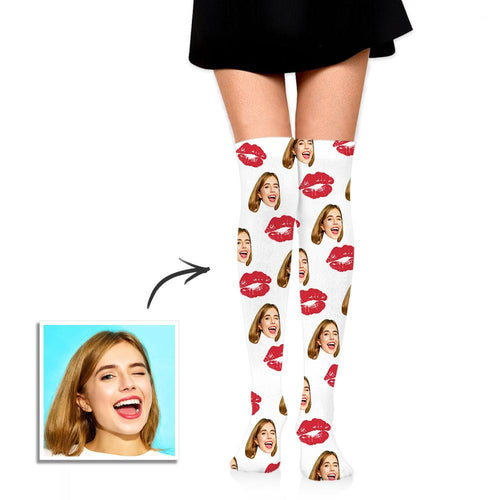 Personalized Socks Knee High Printed Picture with Sweet Kisses