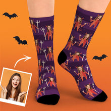 Custom Face Socks Funny Face Personalized Face Little Devil Halloween Gifts