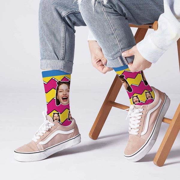 Lightning Striped Face Socks Personalized Photo Socks
