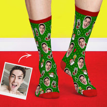 Custom Christmas Socks Dog Face Dots Photo Socks