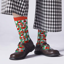 Custom Santa Hats Face Socks Heart Plaid
