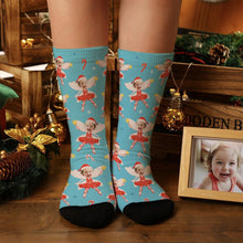 Personalized Photo Blue Elf Socks With Stars