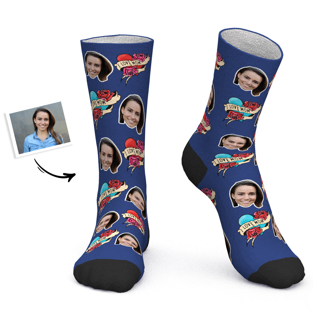 Mother's Day Gift - Custom Socks Personalized Photo Socks I Love Mom