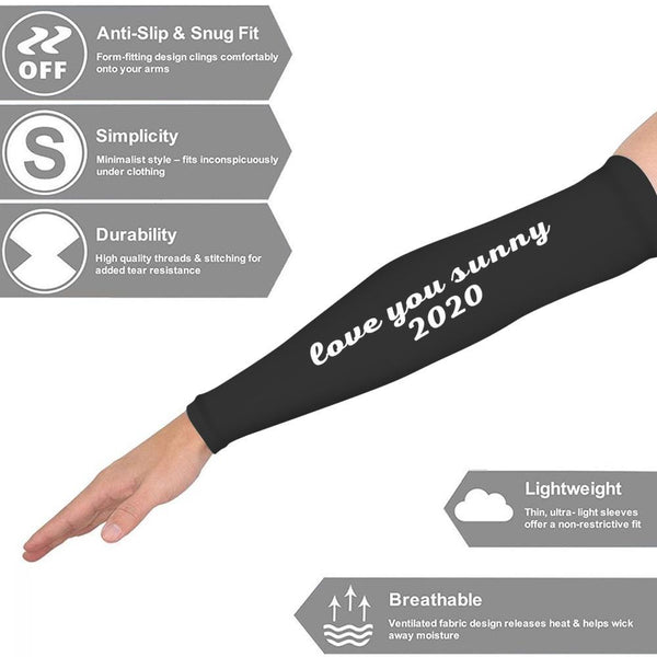 Printed Arm Sun Sleeves, Arm Covers, Arm Sleeves, Compression Sleeves, Arm Protectors Black