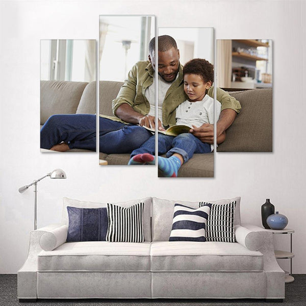 Custom Photo 4 pcs Contemporary Canvas Prints for Livingroom-Medium