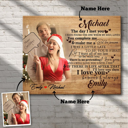 Chirstmas Gift Custom Photo Wall Decor Painting Canvas With Couple Name